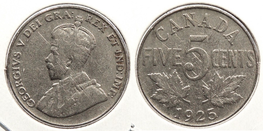 World Coins - CANADA: 1925 Key date 5 Cents