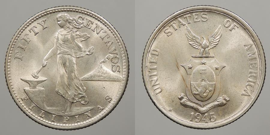 World Coins - PHILIPPINES: 1945-S 50 Centavos