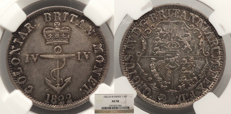 World Coins - BRITISH WEST INDIES George IV 1822/2 Repunched 2 1/4 Dollar NGC AU-58