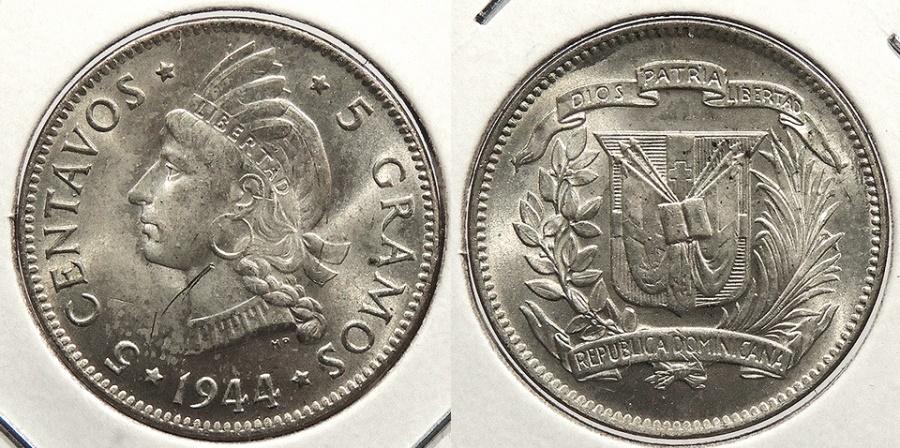 World Coins - DOMINICAN REPUBLIC: 1944 5 Centavos