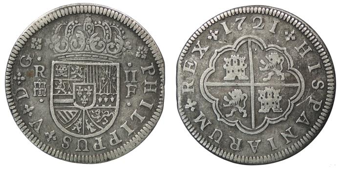World Coins - SPAIN Philip V 1721-S F 2 Reales Good VF