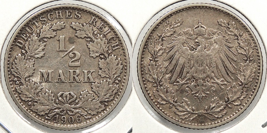 World Coins - GERMANY: 1906-J 1/2 Mark