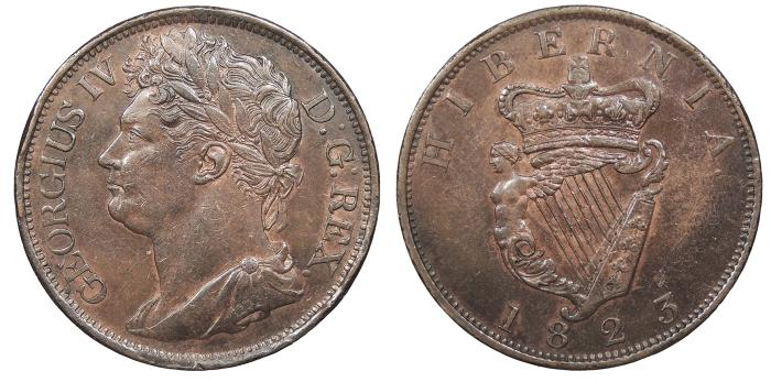 World Coins - IRELAND George IV 1823 Penny AU