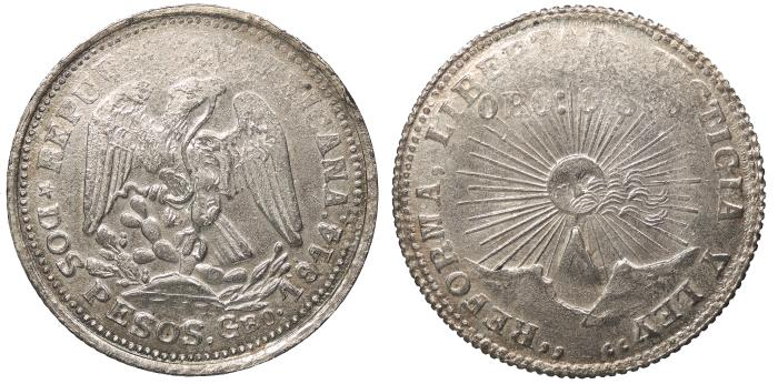 World Coins - MEXICO Guerrero Mexican Revolution - Emiliano Zapata 1914 2 Pesos UNC