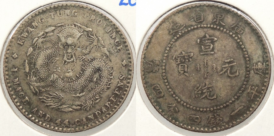 World Coins - CHINA: Kwangtung ND (1890-1908) 20 Cents