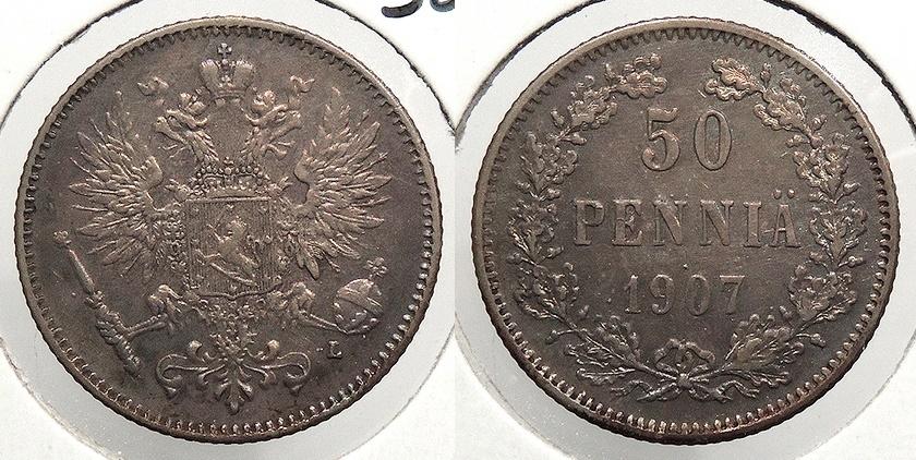 World Coins - FINLAND: 1907 50 Pennia