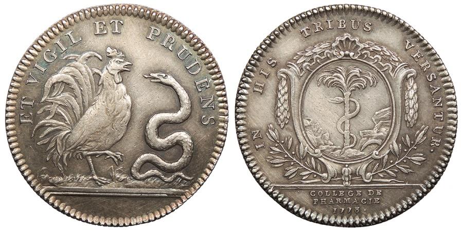 World Coins - FRANCE College of Pharmacy, Paris. 1778 AR Jeton AU