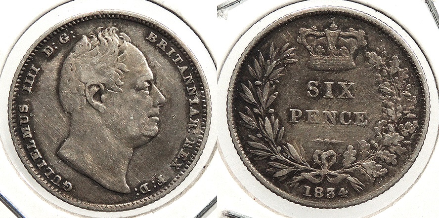 World Coins - GREAT BRITAIN: 1834 Sixpence