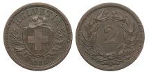 World Coins - SWITZERLAND 1888 2 Rappen AU
