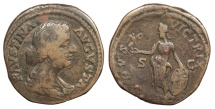 Ancient Coins - Faustina II, wife of Marcus Aurelius 149-175 A.D. Sestertius Rome Mint Good Fine
