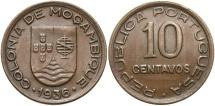 World Coins - MOZAMBIQUE: 1936 10 Centavos