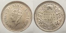 World Coins - INDIA: British India 1943 (B) 1/2 Rupee