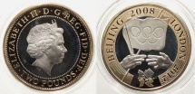 World Coins - GREAT BRITAIN: 2008 Olympic games piedfort proof in capsule with COA 2 Pounds