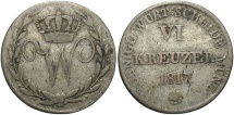 World Coins - GERMAN STATES: Wurttemberg 1817 6 Kreuzer
