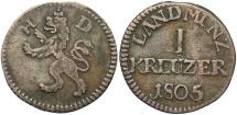World Coins - GERMAN STATES: Hesse-Darmstadt 1805 1 Kreuzer