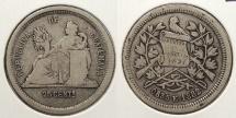 World Coins - GUATEMALA: 1882-E 25 Centavos