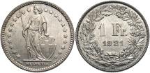 World Coins - SWITZERLAND: 1921 1 Franc