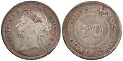 World Coins - STRAITS SETTLEMENTS Victoria 1900-H 50 Cents VF
