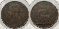 World Coins - GREAT BRITAIN: 1860 Victoria; toothed border. Farthing