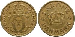 World Coins - DENMARK: 1936 1 Krone