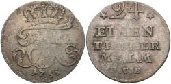 World Coins - GERMAN STATES: Mecklenburg-Strelitz 1755 1/24 Thaler