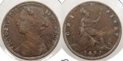 World Coins - GREAT BRITAIN: 1875 Victoria Penny