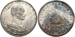 World Coins - GERMANY: Prussia 1913 3 Mark