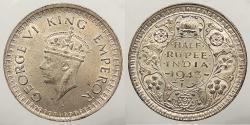 World Coins - INDIA: British India 1943 (B) 1/2 Rupee