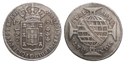 World Coins - BRAZIL Maria I and Pedro III 1781 160 Reis AU