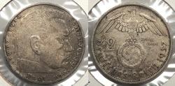 World Coins - GERMANY: 1937-F Hindenburg 2 Reichsmark