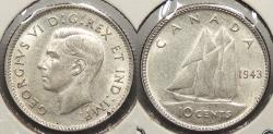 World Coins - CANADA: 1943 10 Cents