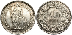 World Coins - SWITZERLAND: 1914 B 1/2 Franc