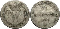 World Coins - GERMAN STATES: Wurttemberg 1817 6 Kreuzer