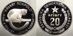 World Coins - MADAGASCAR: Malagasy Republic 1988 Variegated Lemur. 20 Ariary Proof