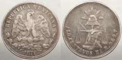 World Coins - MEXICO: 1874-Ho R Repunched date. 50 Centavos
