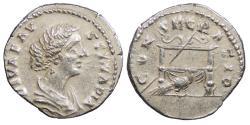 Ancient Coins - Diva Faustina II, wife of Marcus Aurelius Died 175 A.D. Denarius Rome Mint Good VF