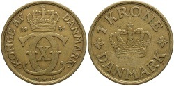 World Coins - DENMARK: 1941 1 Krone
