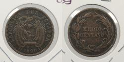 World Coins - ECUADOR: 1890-H Medio (half) Centavo