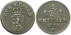 World Coins - GERMANY: Hesse-Cassel 1825 1/4 Kreuzer