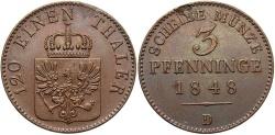 World Coins - GERMAN STATES: Prussia 1848-D 3 Pfennig