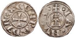 World Coins - ITALIAN STATES Genoa Conrad III, posthumous issue 1093-1152 Denaro 1139-1339 EF