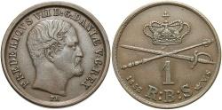 World Coins - DENMARK: 1853 1 Skilling