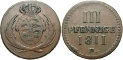World Coins - GERMAN STATES: Saxony 1811-H 3 Pfennig