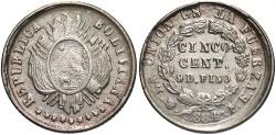 World Coins - BOLIVIA: 1884/3 5 Centavos