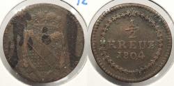 World Coins - GERMAN STATES: Baden 1804 1/2 Kreuzer