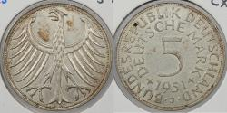 World Coins - GERMANY: West Germany (Federal Republic) 1951-J 5 Marks