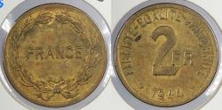 World Coins - FRANCE: 1944 Allied Occupation. 2 Francs