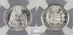 World Coins - PERU 1916-FG 1/2 Dinero NGC MS-65+