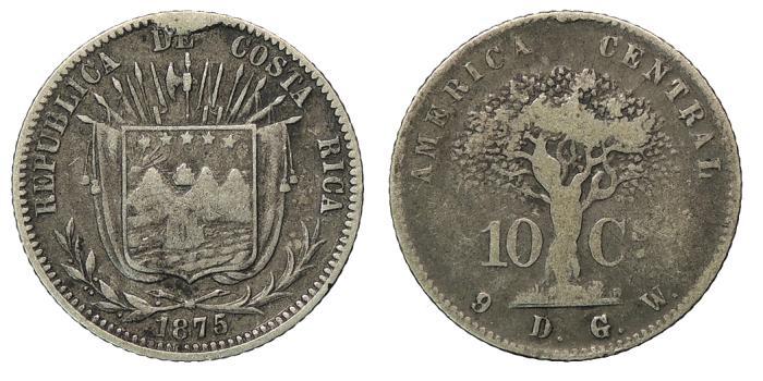 World Coins - COSTA RICA Republic 1875 10 Centavos Near VF