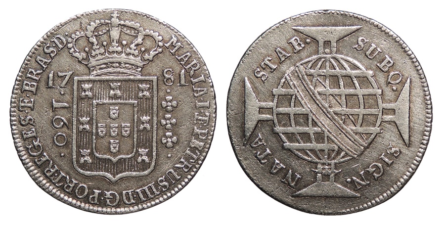 World Coins - BRAZIL Maria I and Pedro III 1781 160 Reis AU